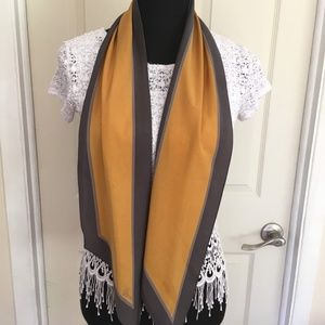 Vera Neumann Mustard and Gray Wing Tipped Scarf